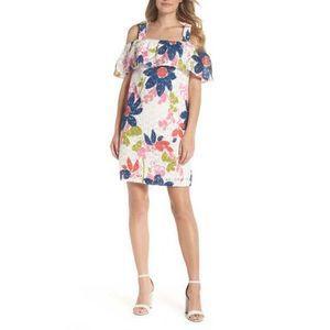 New Floral Lace Windsor Cold Shoulder Shift Dress